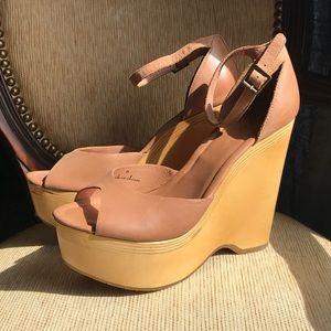 Joie Weber Wood Platform Wedge Sandals 9